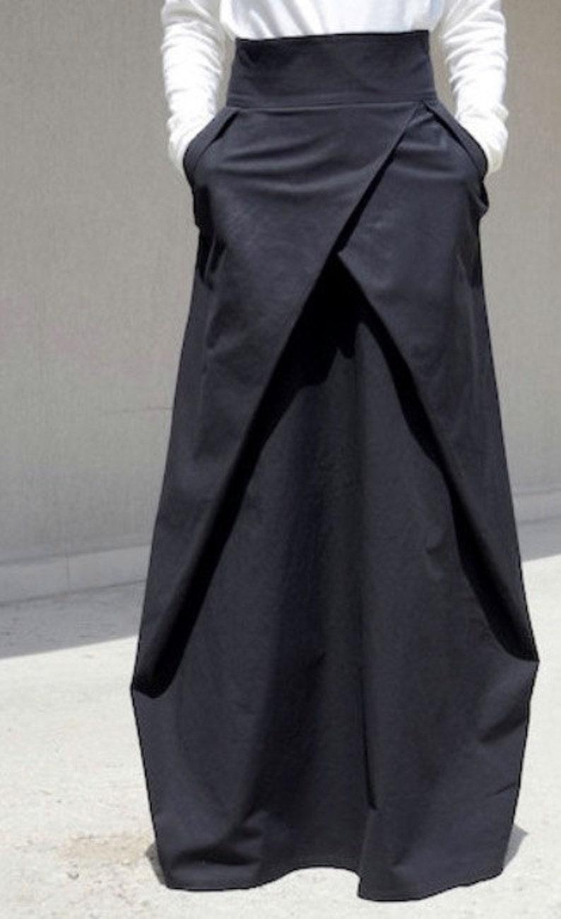 Modern High Waisted Skirt Loose Gothic Skirt Bohemian Cotton image 0