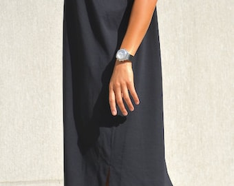 Fall Dress with Short Sleeves, Asymmetrical Off Shoulder Tunic, Casual Oversized Office  Dress, Loose Mini Black Dress, Comfy Holiday Tunic