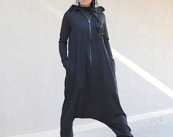 Maternity Comfortable Overalls, Black Jumpsuit with  Long Sleeves, Harem Zipped Jumpsuit, Maternity Black Dungarees, Maternity Loose Romper