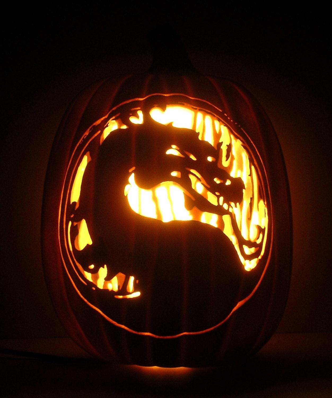 Mortal Kombat Dragon: MORTAL KOMBAT Dragon Logo / Title Hand-Carved Foam Pumpkin