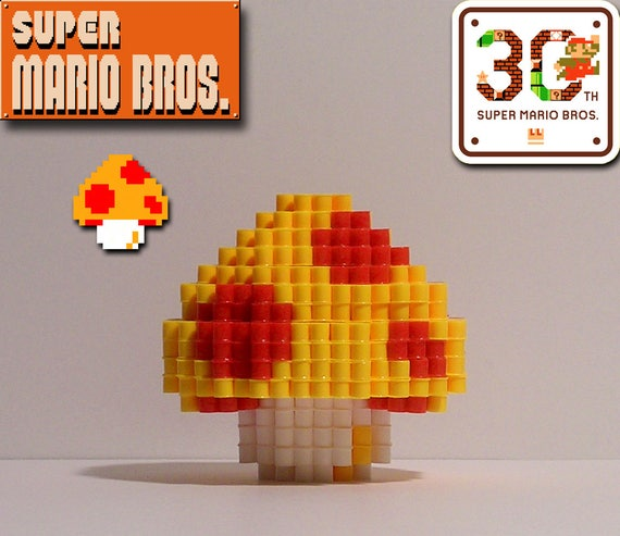 Super Mario Bros Champignon 3d Pixel Bead Figure
