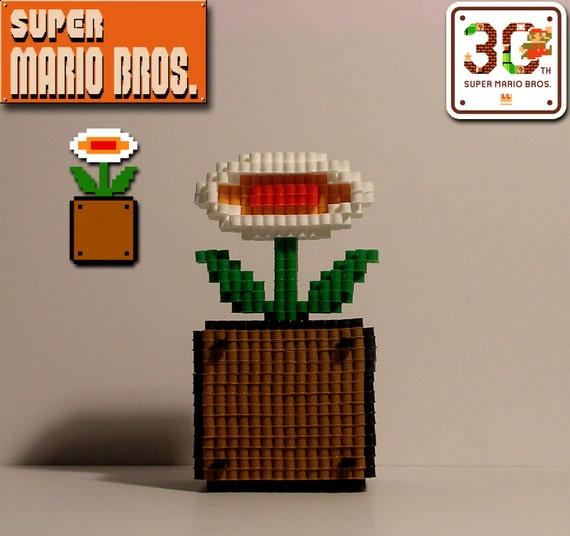 Super Mario Bros Fleur De Feu 3d Pixel Perle Figure Etsy