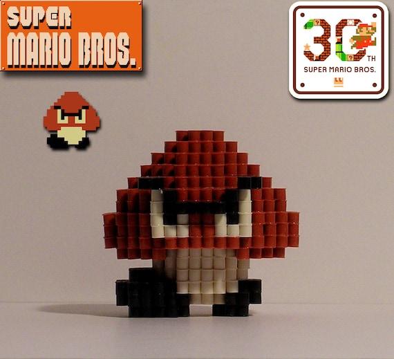 Super Mario Bros 3d Goomba Pixel Bead Figure Etsy