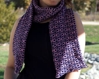 Double thick geometric scarf Pink and Blue Gender neutral men's women's teen's college
