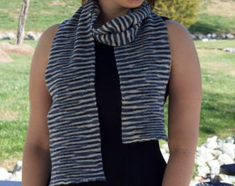 Knit blue and white Striped scarf Wool blend Gender neutral men's women's teen's college