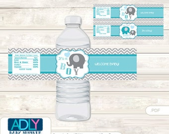 Boy Elephant Baby Shower Water Bottle Wrappers, Labels,- it's a  Boy Turquoise, Chevron - oz63bs 5