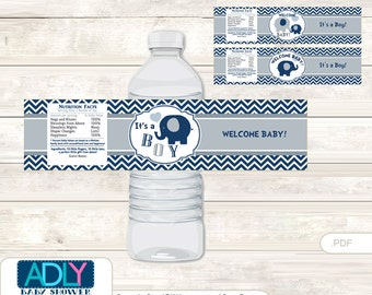 Boy Peanut Baby Shower Water Bottle Wrappers, Labels, - it's a Boy Blue Grey, Chevron - oz82bs5