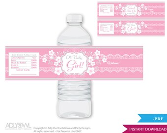 Girl Flower Baby Shower Water Bottle Wrappers, Labels, - it's a Girl Grey Pink, Blossom - oz58bs5
