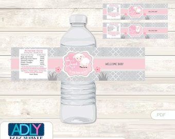Pink Lamb Baby Shower Water Bottle Wrappers, Labels, - it's a Pink Sheep, Grey - oz84bs5