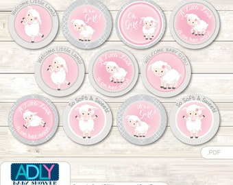 Pink Lamb Cupcake Toppers for Baby Shower Printable DIY, favor tags, circles, It's a Pink, Grey- oz84bs0