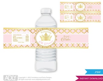 Gold Pink Princess Royal Baby Shower Water Bottle Wrappers, Labels, - it's a Princess Gold Pink, Elegant, gold foil, royal water - oz12bs5
