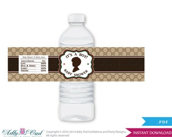 Boy Fashion Baby Shower Water Bottle Wrappers, Labels, - it's a Boy Brown Red, Gucci - oz23bs5