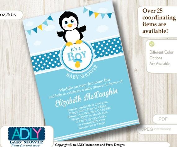 Baby Penguin Invitation In Blue White With Polka Dot Design Etsy