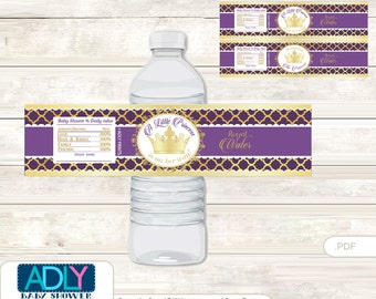 Dark Purple Princess Baby Shower Water Bottle Wrappers, Labels, - it's a Dark Purple Gold, Royal - oz74bs 5