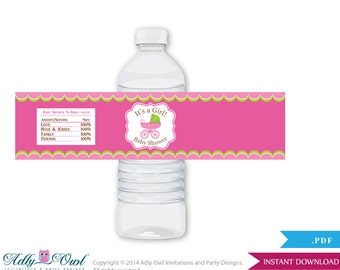 Girl Stroller Baby Shower Water Bottle Wrappers, Labels, - it's a Girl Pink Green, Carriage - oz4bs5