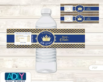 Crown  Prince Baby Shower Water Bottle Wrappers, Labels, - it's a  Crown  Gold Blue ,  Chevron  -  oz66bs5