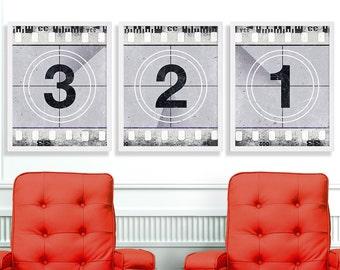 Three Movie Art Prints Black and White Movie Print Wall Art Numbers Film Strip Vintage Film Reel Industrial Art Living Room Decor Hipster