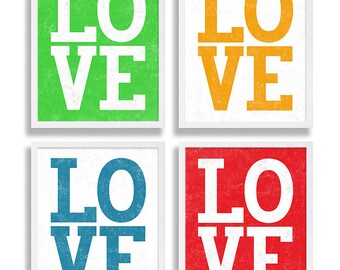 Four Love Art Prints Colorful Wall Art Living Room Decor Modern Artwork All You Need Love Red Green Blue Orange Valentines Day Gift for Her