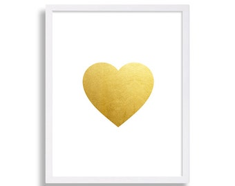 Heart Print Faux Gold Foil Art Print Modern Bedroom Decor Valentines Day Gift for Her Gold Wall Art Gold Nursery Print Love is All You Need
