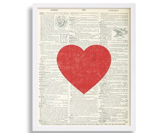 Dictionary Page Art Heart Wall Art Love Print Dictionary Art Print College Poster Black and White Wall Decor Industrial Art Hipster Decor