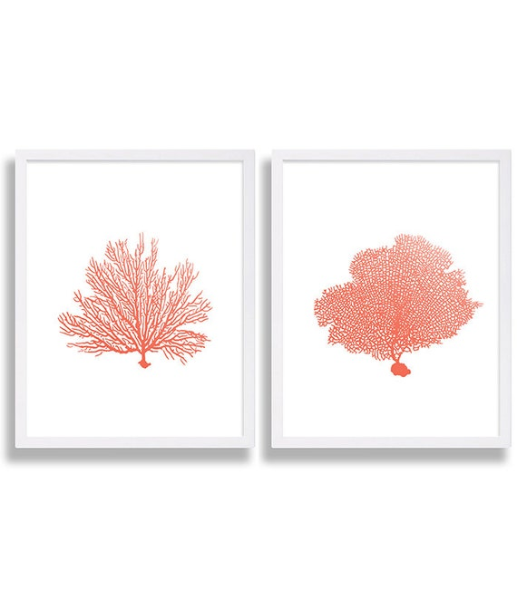 coral wall art prints coral color decor coral prints water etsy