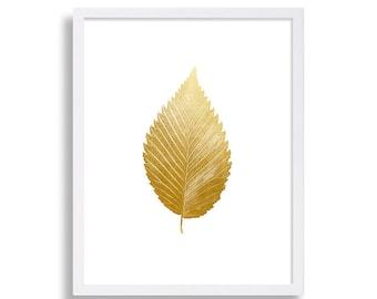 Gold Elm Leaf Print Faux Gold Foil Print Minimalist Art Print Modern Home Decor Bed Room Art Fancy Poster White Gold Print Classic Art