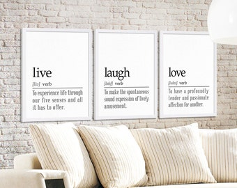 Three Dictionary Definition Art Prints Live Laugh and Love Prints Large Art Living Room Decor Inspirational Quote Art House Warming Gift