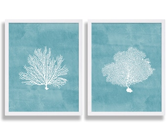 Coral Art Prints Teal Blue Prints Coral Prints Water Color Art Living Room Art Family Room Decor Bed Room Blue Painting Beach House Art