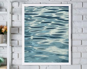 Modern Art Water Print Abstract Art Print Blue Decor Living Room Decor Home Staging Coastal Decor Bed Room Art Minimalist Art Water Ripples