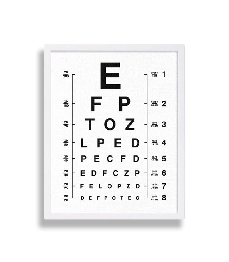 photograph about Printable Eye Chart referred to as Eyechart Artwork Print Eye Chart Print Impressive Artwork Black and White Decor Oculist Chart Wall Artwork Outdated Indicator Poster Common Motivated Eye Physician Chart