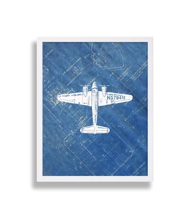 Airplane print on blueprint paper industrial art modern etsy image 0 malvernweather Gallery