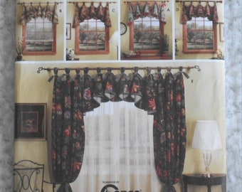 Home Decorating Window Treatments Valance Side Drapery Sewing Pattern UNCUT Janas Can Tops Simplicity S5696 54 74 Inch Curtain Rod