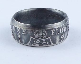 Two Shillings Coin Ring Powder Coated Finish Coin Jewelry Great Britain Florin