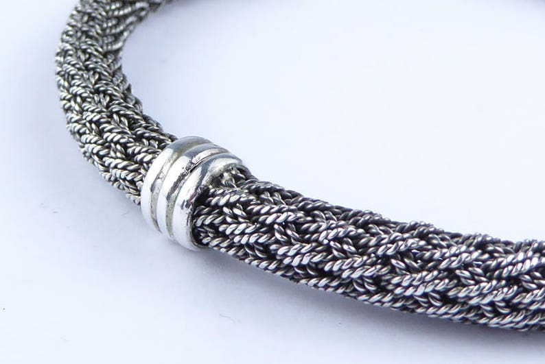 stamped 925 Braided silver rope style bangle