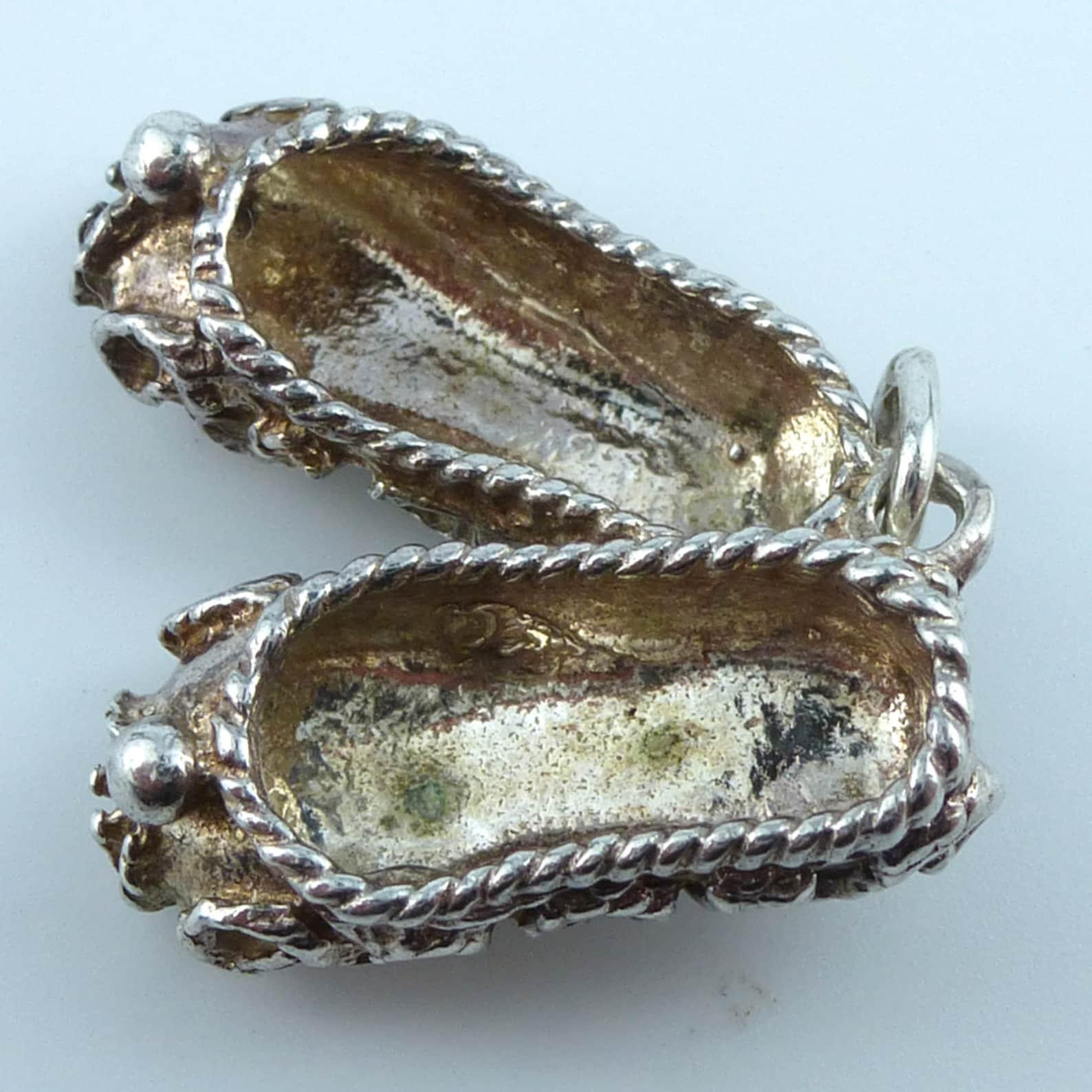 vintage silver bracelet charm - ballet shoes