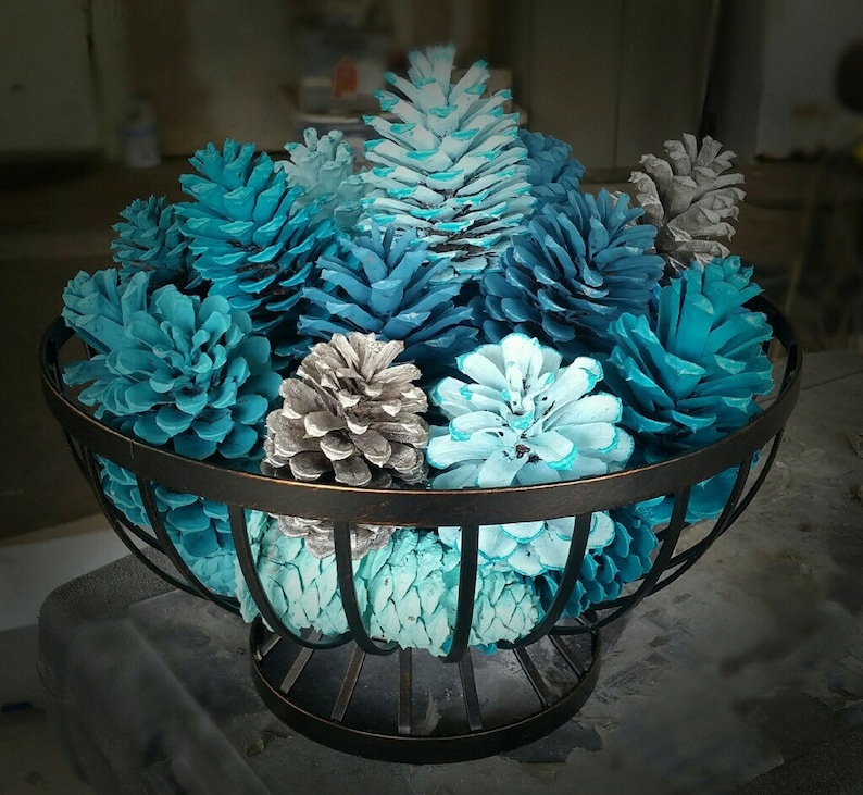 Painted Festive Pinecone Basket/Winter Table Decor/Pinecone image 0