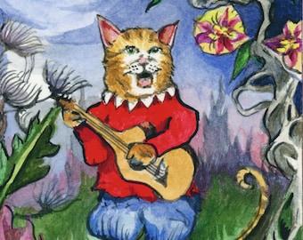 Singing Kitty in the Moonlight Original Watercolor