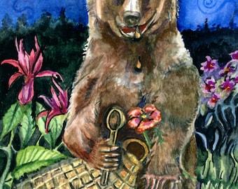 Bear Eating Honey in the Moonlight, Original Watercolor