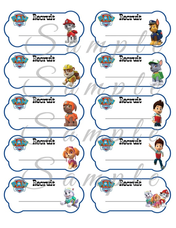 Paw Patrol Name Tags Birthday Party Favor Printable X Inch - 2x4 inch label template