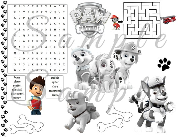 Paw Patrol Party Favor Coloring Placemat Printable Birthday