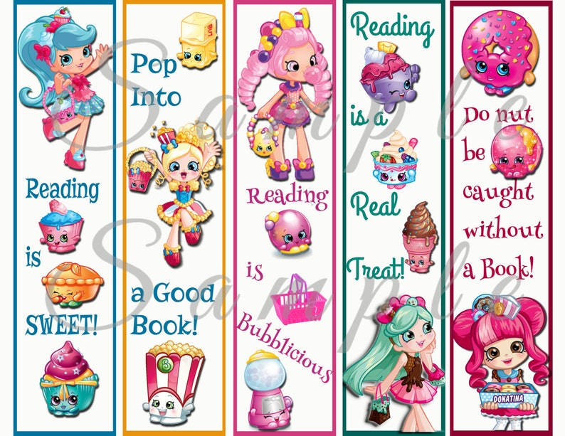 graphic regarding Shopkins Printable List titled Shopkins Bash Desire Bookmark Electronic Printable Fast Down load Birthday Looking through Library Reserve Little ones Retail store PNG PDF Jpg 300dpi