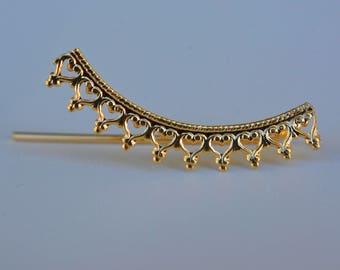 Crown earrings, Lace earrings,  Delicate Jewelry, Ear Climber, Crowen ear cuff,  Delicate ear cuff.  gold ear pin earrings, gold ear cuff