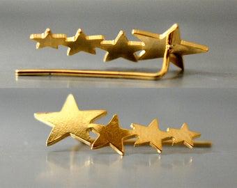 Star ear cuff, silver star earrings, Wedding Earrings, Gold Ear Climber, Dainty Ear Cuff,  Gold Ear Pin, Star ear climbers, climber