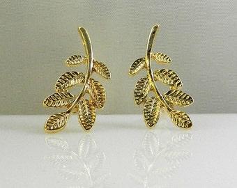 Large Ear Cuff , Nature Earrings , Modern Jewelry , Gold Ear Pin Earrings . Nature Jewelry,  Trendy Jewelry