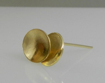Gold stud earrings , Gold Geometric studs , round stud earrings , gift for her , Geometric Jewelry , classic Jewelry.