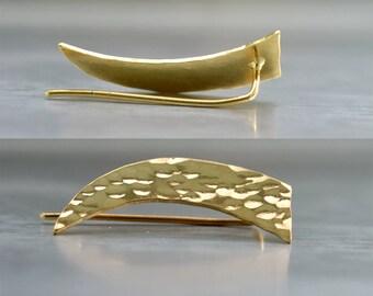 Minimalist ear climber , Modern Jewelry , Gold ear pin earrings . Minimalist Ear cuff , triangle stud earrings , trendy jewelry