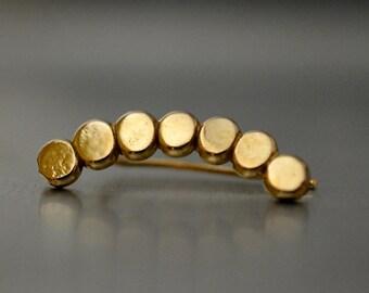Flattened balls ear climbers,  Gold geometric earrings, minimalist  Jewelry, Gold ear pin earrings. Minimal Ear Sweep, silver earcuff