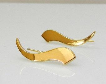 Wave earrings  , Wedding Earrings , Bridal Ear Cuff , geometric earrings , Dainty Ear Cuff ,  Gold Ear Pin Earrings , minimalist ear crawler