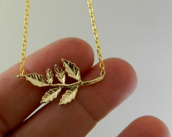 Gold Branch Necklace , Gold Leaf Necklace ,  Gold Dainty Necklace , Nature jewelry , Romantic necklace