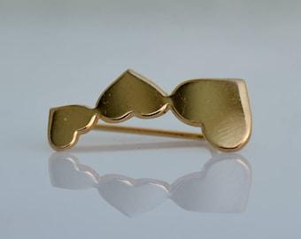 Heart earrings, bride earrings, wedding earrings gold, Gold Ear Climber,  Gold Ear Pin Earrings, heart jewelry, gold heart dangle earrings.